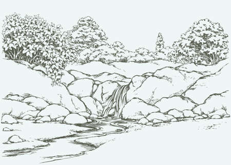Beautiful mountain trickle drop down gurgling seethe on mount scar knoll with lush shrubs. Vector freehand ink drawn backdrop sketch view in art doddle style pen on paper with space for text on sky
