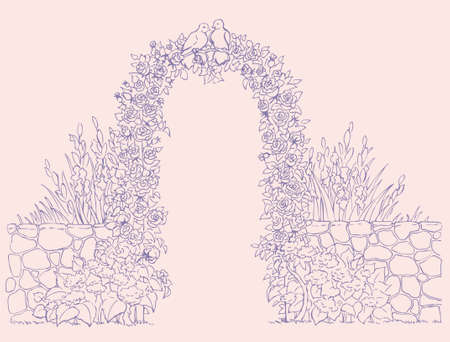 Vector background. On the arch of the weave roses housed couple of pigeons