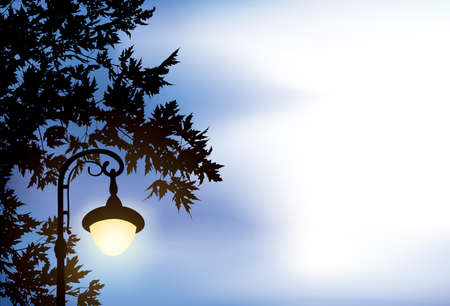 Vector background. Glowing lantern, surrounded by maple branches
