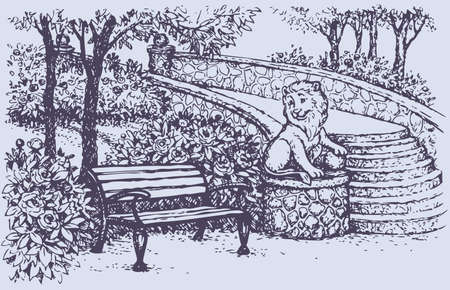 Vector landscape. A cozy corner in the spring park: bench beside statues of a lion with a ball on the railings stairs surrounded by blossoming bushes of roses and peonies