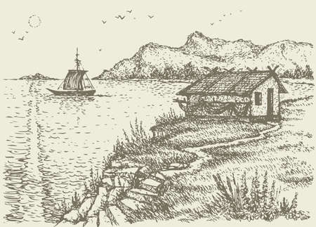 Vector landscape. The old fisherman's hut on a cliff above the quiet sea bay