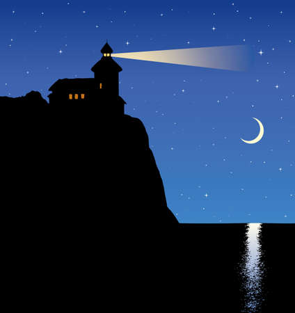 Summer quiet dusk scene. Guide point lamp searchlight for ship on top of steep cape bank and lunar path on water. Calm picture with space for text on deep blue nighttime heaven Ilustração