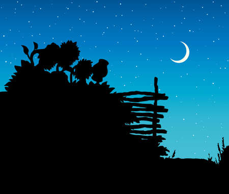 Aged farm wattle hedge with hanging old jar. Romantic silence scene. Dark ink hand drawn picture sketch in art retro engraving style pen on paper with space for text on blue nightfall sky backdrop