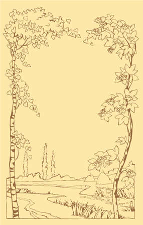 Vector frame for processing the text or images from leaning trees in a landscape with a stream