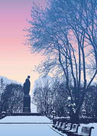 Vector image. Winter Evening in the Park of Taras Shevchenko. Kiev, Ukraine Stock fotó - 157026254
