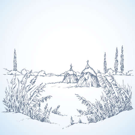 Snowcovered quiet wintertime scene. Tranquil xmas day. Freehand outline ink hand drawn picture sketchy in art scribble retro style pen on paper. Scenic view with space for text on light sky backdrop