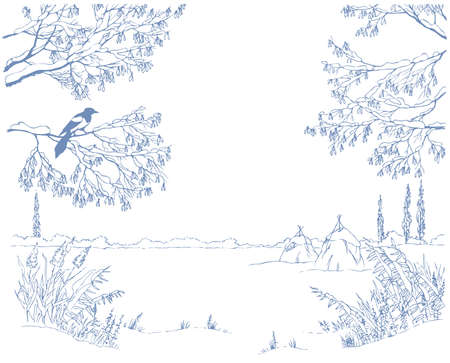 Vector picture-framing. A linear sketch the landscape of a winter field through the snow-covered branches of trees and shrubs