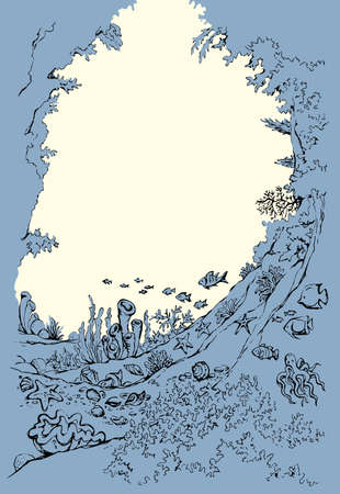 Light white aqua rock stone floor travel text space backdrop scene. outline black hand drawn wild polyp border pattern texture design art line doodle sketch style. Closeup tourism vacation scenic view