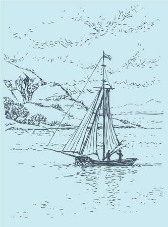Vector drawing sketch. Old sailing boat swims up to rocky shore