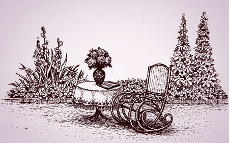 Lovely cozy corner patio home: flower bed with gladioli, petunias and hollyhocks and rocker at round table with embroidered tablecloth. Vector monochrome freehand ink drawn background sketching in style of antiquity pen on paper with space for text