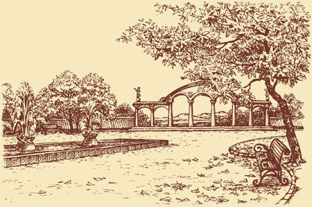 Vector autumn landscape. Bench in the park under a tree near the arched entrance and pool with fountains in the square