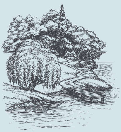 Vector sketch landscape. Willow on the river above the footpath down from the wooded hill to the pier 向量圖像