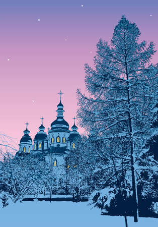 Vector image. Winter evening in snow-covered park near Michael's Cathedral. Kiev, Ukraine