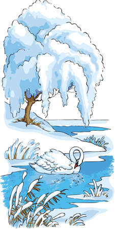 Vector drawing. The swan was left to winter on the lake Ilustração