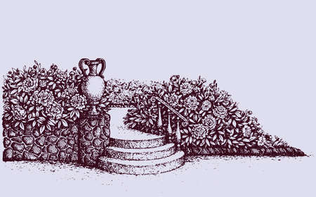 Romantic beautiful classic outdoor elegant cozy rest place with old urn on luxury patio with space for text on sky. Freehand ink hand drawn picture background sketch in art doodle style pen on paper Ilustracja