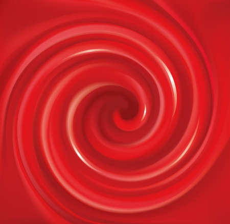 Glossy wavy eddy coral cycle backdrop. Coil syrup fluid surface deep claret color with space for text in center of funnel. Appetizing mix gel jam of vibrant ruby cherry, bilberry, cowberry, foxberry