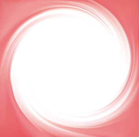 Glossy radial curvy fond with space for text in glowing white center. Whirl red gel eddy syrup surface. Appetizing mix jam of juicy fruits rose color: redcurrant, dragon or pitaya, cowberry, watermelon Vektoros illusztráció