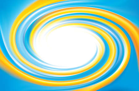 Vector cheerful curly ripple backdrop with space for text. Beautiful whorl plastic surface. Cycle mix of national Ukrainian flag symbolic colors: bright yellow and light blue 일러스트