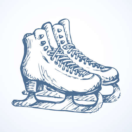 Old female shaped rink run iceskate lacing footgear isolated on light frost snow background. Outline pink ink hand drawn picture object sketchy in art doodle retro style pen on paper. Closeup view