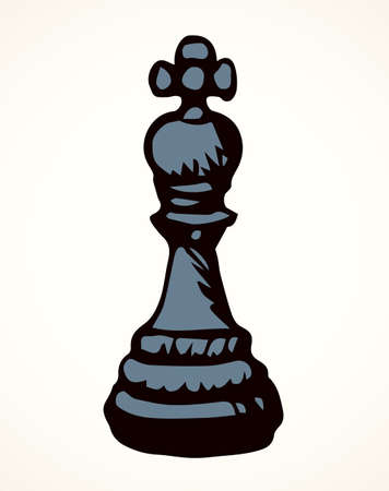 Closeup royal crown rank on check board paper backdrop text space. Dark line ink pen hand drawn chessmen mate shot render winner think toy element logo emblem design in retro art doodle cartoon style