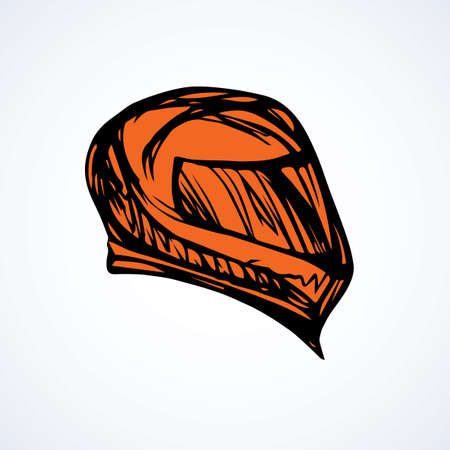 New modern shiny red carbon crash helm cover on white backdrop. Freehand outline dark ink hand drawn picture logo sketchy in art retro scribble style pen on paper. Closeup side view with space for text