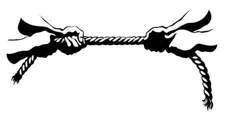 Line fun power partner work cord drag win play on white text space. Outline black drawn strong group string team game action idea problem logo icon sign sketch in retro art cartoon style. Closeup view Logó