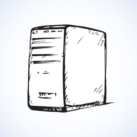 Power block base chassis miditower cabinet isolated on white backdrop. Freehand outline black ink hand drawn picture sketchy in art scribble style pen on paper. Closeup side view with space for text