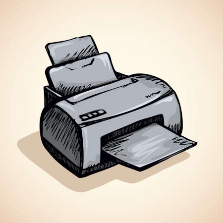 Modern home digital quality multifunction pc color toner plotter isolated on white background. Freehand outline black pen drawn picture icon sketchy in scribble style. Closeup view with space for text 向量圖像