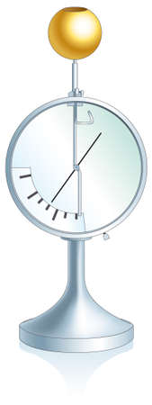 Schematic vector image. Electrometer - a device that is used to measure the electric potential