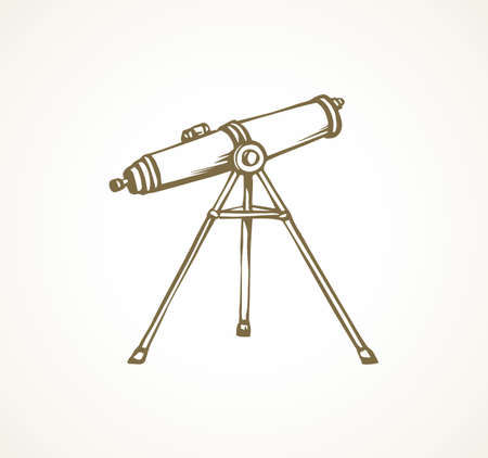 Old monocular spotting tube device on white sky backdrop. Freehand outline black ink hand drawn flat logo learn eyepiece emblem pictogram sketchy in retro art doodle style pen on paper place for text