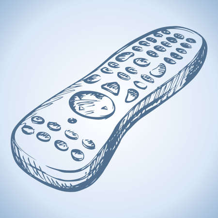 Modern flat TV satellite receiver remote control isolated on white background. Vector linear freehand ink drawn backdrop sketchy in art scrawl style pen on paper. View close-up with space for text