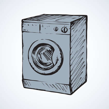 New big front-loader cloth washer isolated on light gray backdrop. Freehand linear black ink hand drawn picture logo in art retro contour scribble style pen on paper. View close up with space for text