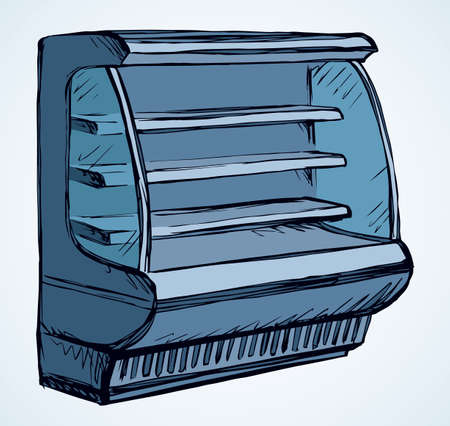 Chiller show icebox up set stand on white background. Outline black hand drawn empty cafe freeze ice cream brand aisle cooler design symbol sign icon in art modern doodle cartoon style on text space 向量圖像