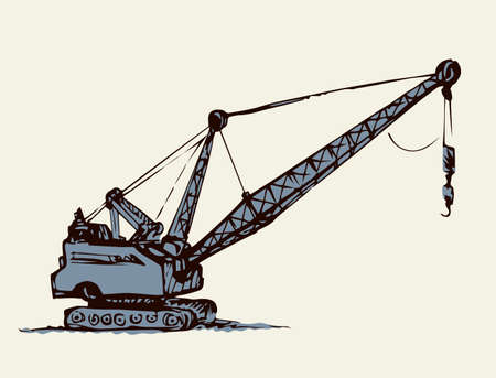 Huge iron bulldozer truck. White sky text space. Line black ink hand drawn big carbon soil lignite dredger giant tractor plant factory logo sign in modern art doodle sketch cartoon graphic print style