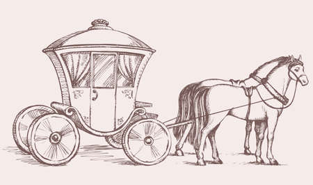 Beautiful cute romantic classic buggy gharry horse-drawn car with curtained window. Vector fairy tale freehand ink drawn gold background sketch in art antiquity style pen on paper with space for text