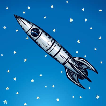 Ufo jet booster velocity rocketship vessel start takeoff send to orbit mission. Freehand outline ink drawn icon sketchy in scribble retro style pen on paper with space for text on blue sky background