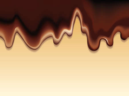 Vector background with a flowing fluid with hot chocolate on a beige surface