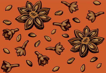 Indian natural yellow badiam pod of anice crop product on vibrant red fond. Bright brown hand drawn picture symbol sketchy in retro art doodle cartoon graphic style. Tileable vintage closeup macro view 矢量图像