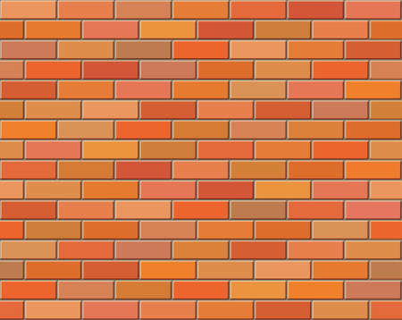 Red brick wall seamless Vector illustration background - texture pattern for continuous replicate