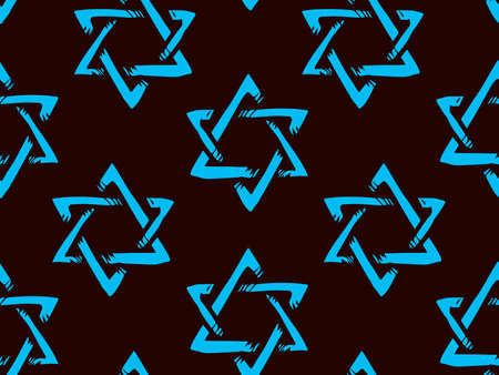 Old kosher judaic chanukkah magen shape heritage. God torah chanukah yiddish day logo emblem. Blue color hand drawn zion ethnic hannukah frame in retro art doodle cartoon style on dark black pattern for text