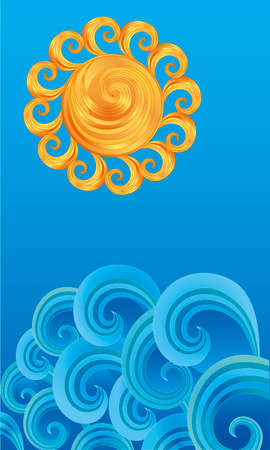 Vector styled background of decorative ornamental sun over the waves