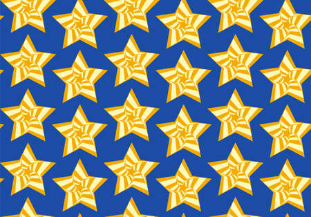 Tileable artistic five-pointed shape optical illusion op form tracery template. Recurring vibrant fond for greeting card on July 4, Independence Day of United States, cute cheerful feast of liberty Ilustrace