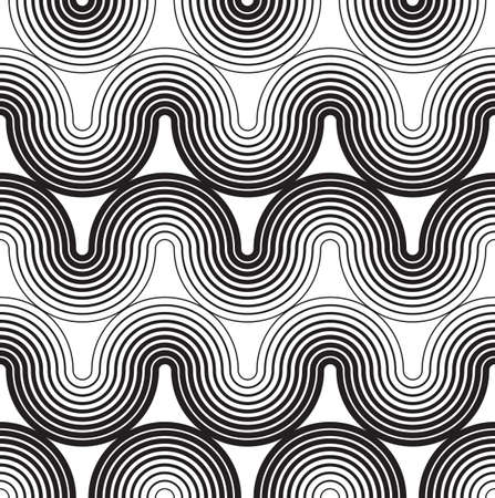 Tileable sinuous warp op twisty shape form tracery white color with black squiggly bent strokes. Art retro billowy curvy zigzag wavelike meander winding style distorted template fond Ilustrace