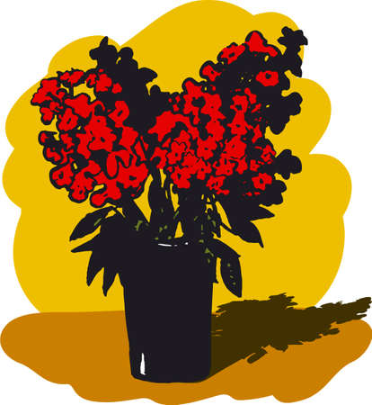 Vector still life. Sketch of a vase with red flowers on a yellow background