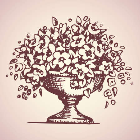 Architectural element for balustrades stone vase with ornament filled with hanging Petunia. Vector freehand linear ink drawn sketchy background in art antiquity scribble style pen on paper. View close-up with space for text