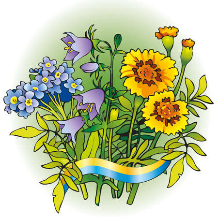 Vector bouquet of flowers for the Ukrainian folk wreaths. Bluebell, forget-me-not and Marigolds related symbolic ribbon with colors of national flag: yellow and blue