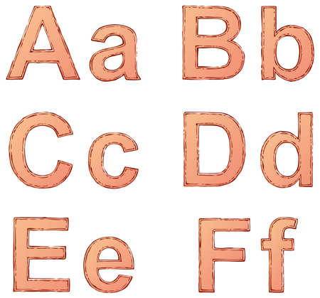 Vector drawing font isolated on white background. Uppercase and lowercase letters of the Latin alphabet with the ink-drenched double circuit and paint