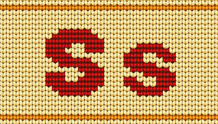 Vector knitted alphabet. Red characters on white background. Letter