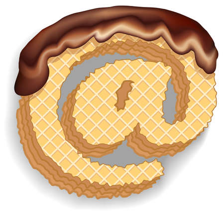 Vector set of stylized characters consisting of stacked layers of wafers with chocolate cream flowing down from the top. Letter
