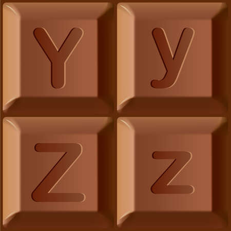 Vector stylized alphabet. Set of Latin characters printed on blocks of chocolate bar. Letters A and B